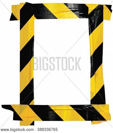 Yellow Black Caution Warning Barricade Tape Notice Sign Frame, Vertical Adhesive Sticker Background,