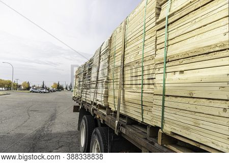 Pile Of Lumber On Truck For Delivery