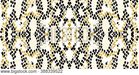 Seamless Predator Pattern. Yellow And Gold Border. Trendy Exotic Illustration. Serpent Leather Wild