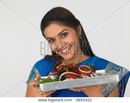 Young Asian Woman With Her Roasted Chicken