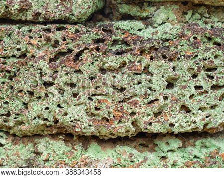 Close Up Of Laterite Stone Block Wall With Green Moss Growth Beautiful Patterns.
