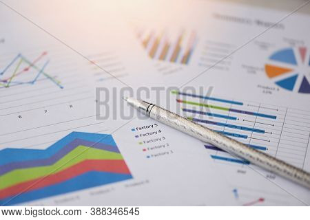 Summary Report In Statistics Circle Pie Chart On Paper Business Document Financial Chart And Graph W