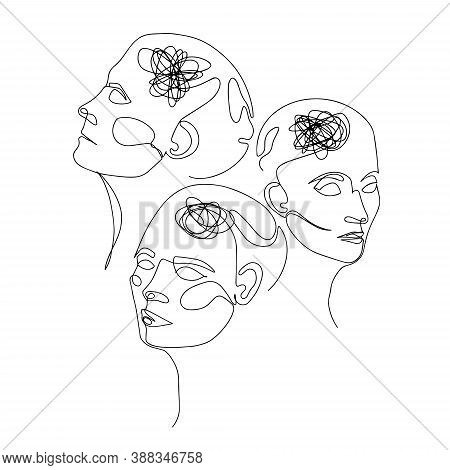 Line Drawing Of Three Human Heads With Confused Thoughts In Their Brain. Vector Illustration For The