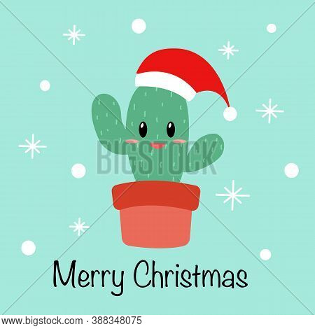 Cute Cactus Wearing Santa Claus Hat Cartoon In Flat Design. Merry Christmas Decoration Concept Vecto