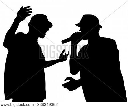 Young man with a microphone reads a rap. Stylized image on theme of hip hop