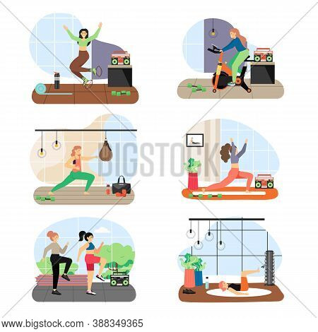 Women Doing Fitness, Riding Stationary Exercise Bike, Flat Vector Illustration. Active And Healthy L