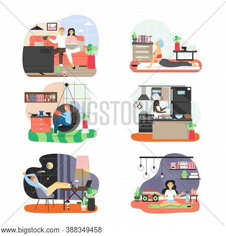 People Spending Free Time At Home, Flat Vector Illustration. Sport, Hobby And Leisure Activities. Ev