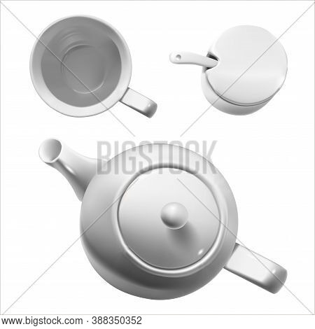 Vector Realistic Illustration Of China Tableware. An Isolated Image Of A Teapot, Cup And Container.