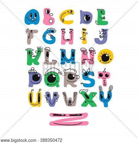 Bright Children S Alphabet. Vector Set Of Cartoon Colorful Alphabet Written By Hand. Each Letter Is