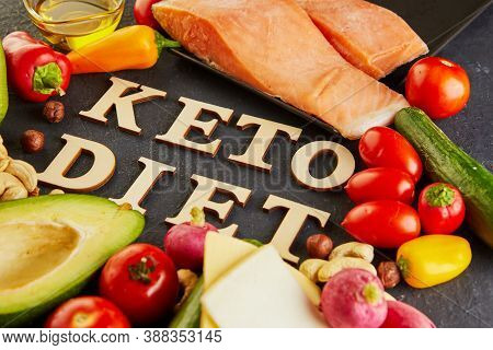 Keto, Ketogenic Diet With Lettering, Low Carb And High Fat Weight Loss Meal Plan.
