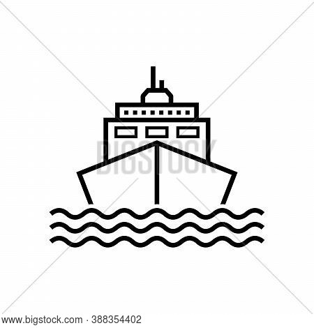 Ships. Ship Line Icon Vector Isolated On White Background. Ship Icon Simple Sign. Ship Line Icon Fla
