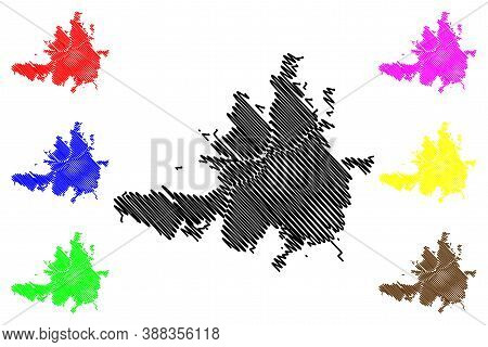 Culiacan City (united Mexican States, Mexico, Sinaloa State) Map Vector Illustration, Scribble Sketc