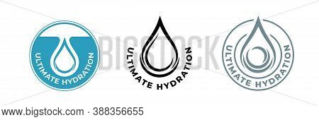 Hydration Water Drop Icon, Moisturizing Skincare Cosmetic Products, Vector Package Logo. Ultimate Hy