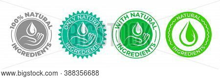 Natural Ingredients Product Icon, Green Organic Bio Vector Logo With Hand And Water Drop. 100 Percen
