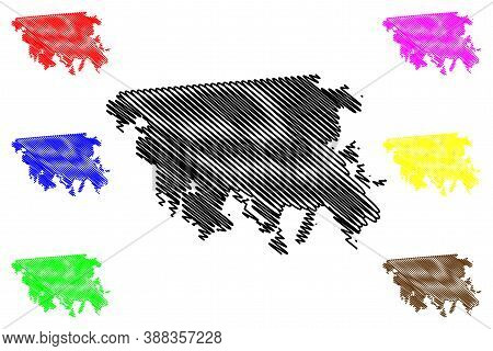 Mexicali City (united Mexican States, Mexico, Baja California State) Map Vector Illustration, Scribb
