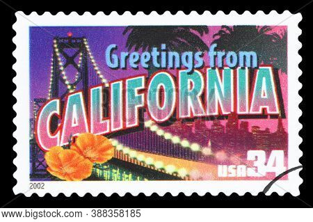 United States Of America - Circa 2002: A Postage Stamp Printed In Usa Showing An Image Of California