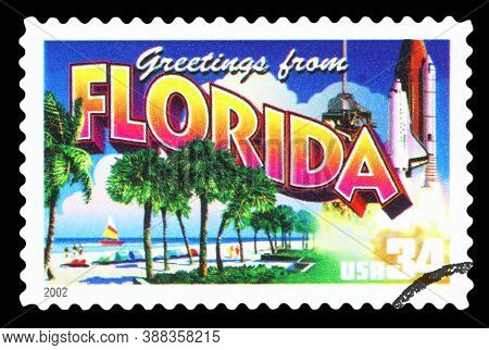 United States Of America - Circa 2002: A Postage Stamp Printed In Usa Showing An Image Of The Florid
