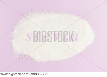 Inscription Stevia Sugar Substitute For Diabetics On Scattered Stevia On A Pink Background