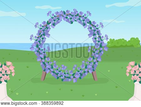 Blue Floral Arch Flat Color Vector Illustration. Flower Circle Gate For Wedding Photozone. Place For