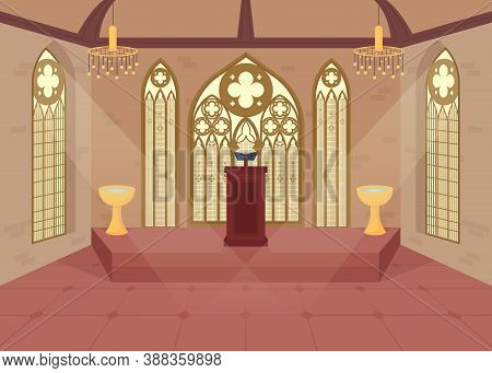 Church Flat Color Vector Illustration. Hall For Religious Ceremony. Place For Christian Engagement.