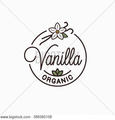 Vanilla Logo. Round Linear Logo Of Vanilla Flower