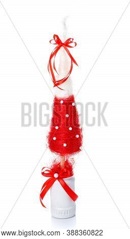 Handmade Decorative Christmas Tree For Home Interior Or Office On A White Background