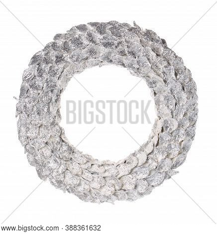 Traditional Christmas Wreath Isolated On White. Christmas Decorations For New Year, Holiday Decorati