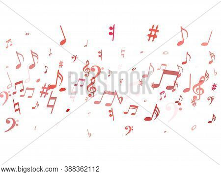 Red Flying Musical Notes Isolated On White Background. Stylish Musical Notation Symphony Signs, Note
