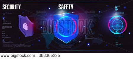 Protection Concept. Shield. Digital Data Protection. Cyber Security. Innovative Cyber Banner With Se