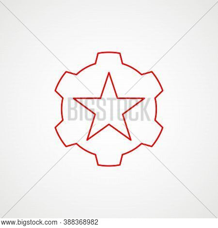 Linear Icon Of Communism. Red Star With Gear. Minimalist Emblem. Vector Illustration