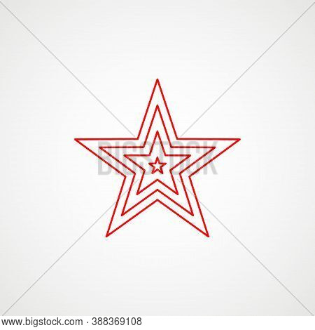 Linear Icon Of Communism. Red Multilayer Star. Soviet Emblem. Minimalist Coat Of Arms Of The Ussr. V