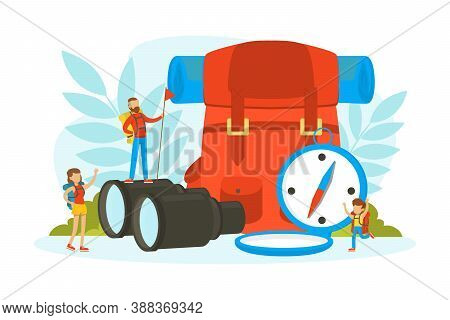 Tiny Tourists Characters With Huge Expedition And Hiking Equipment, Family Going On Vacation Vector