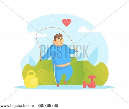 Chubby Man Jumping With Skipping Rope, Overweight Man Character Doing Workout Outdoors Vector Illust