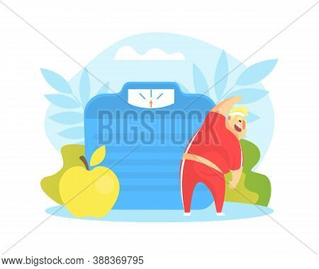 Tiny Chubby Man Doing Sport Exercise, Huge Scales And Healthy Food, Overweight Man Character Doing W