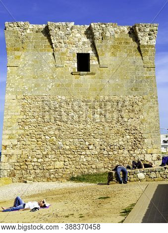 Sighting Tower On The Apulia Coast Probably Dating Back To The 15th Century. Near Polignano A Mare,