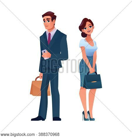 Mature Businessman And Businesswoman Isolated Cartoon Adult People. Vector Caucasian Man In Suit Wit