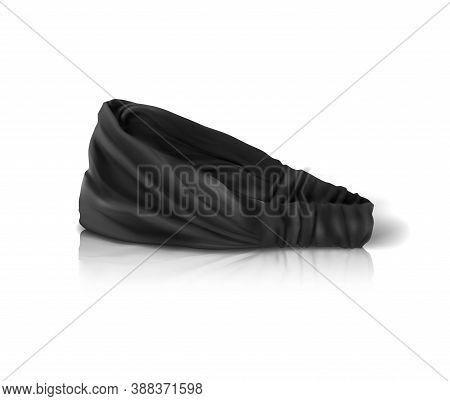 Black Headband For The Chef. Form For Branding. Mockup. Vector Illustration.