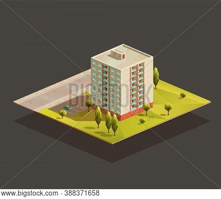 Post soviet tower Block of flats isometric realistic illustration. Polygonal vector building