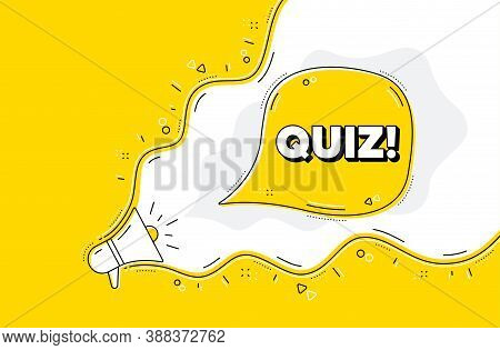 Quiz Symbol. Loudspeaker Alert Message. Answer Question Sign. Examination Test. Yellow Background Wi