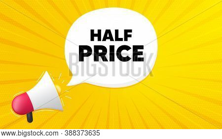 Half Price. Yellow Background With Megaphone. Special Offer Sale Sign. Advertising Discounts Symbol.