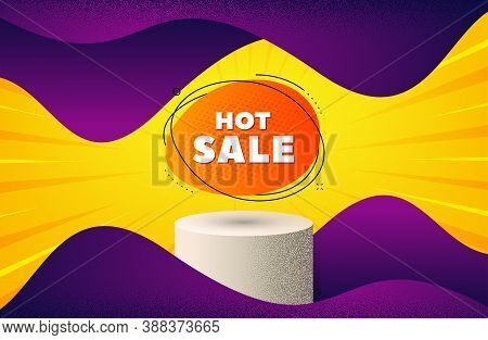 Hot Sale Banner. Background With Podium Platform. Discount Sticker Shape. Coupon Bubble Icon. Dotted