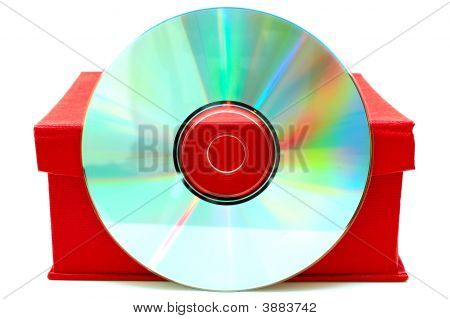 Compact-Disk (Cd Or Dvd) And Red Cardboard Box.