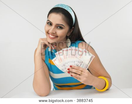 Asian Female Of Indian Origin With Currency Notes