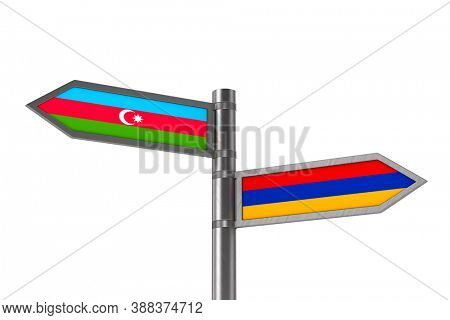 Relationship between Azerbaijan and Armenia on white background. Isolated 3D illustration