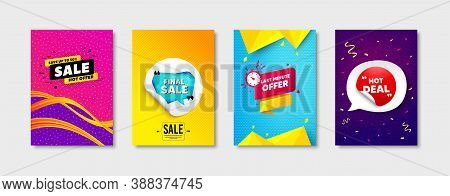 Final Sale, Last Minute Offer And Hot Deal Set. Sticker Template Layout. Final Discount Sign. Sale O