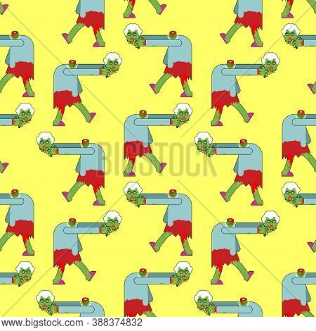Granny Zombie Pattern Seamless. Dead Green Grandmother Monster Background. Scary Grandma Texture