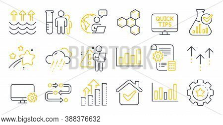 Set Of Science Icons, Such As Settings Gear, Analysis Graph, Web Tutorials Symbols. Column Chart, Ch