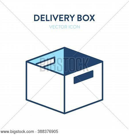 Open Office Box Flat Isometric Icon. Vector Illustration Of A Cardboard Office Box For Papers And Pe