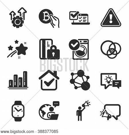 Set Of Technology Icons, Such As Euler Diagram, Online Survey, Idea Lamp Symbols. Megaphone, Washing