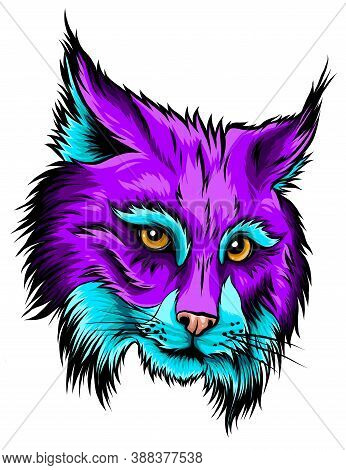 Eurasian Lynx Isolated Vector Illustration. Vector Hand Drawn Wild Animal Sketch Icon.
